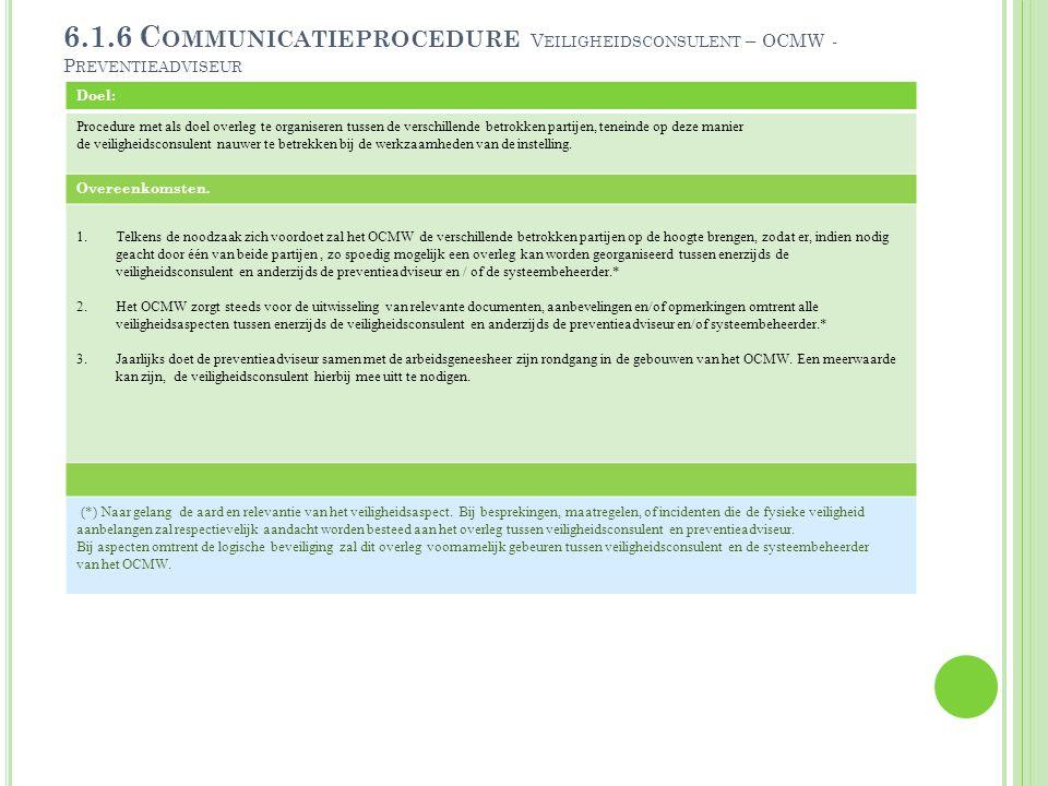 6.1.6 Communicatieprocedure Veiligheidsconsulent – OCMW - Preventieadviseur