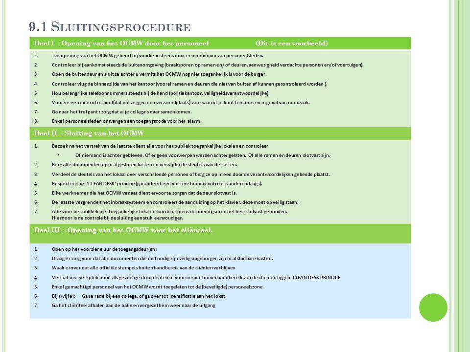 9.1 Sluitingsprocedure Deel I : Opening van het OCMW door het personeel (Dit is een voorbeeld)