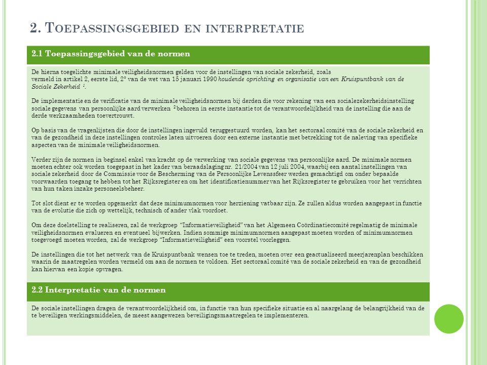 2. Toepassingsgebied en interpretatie