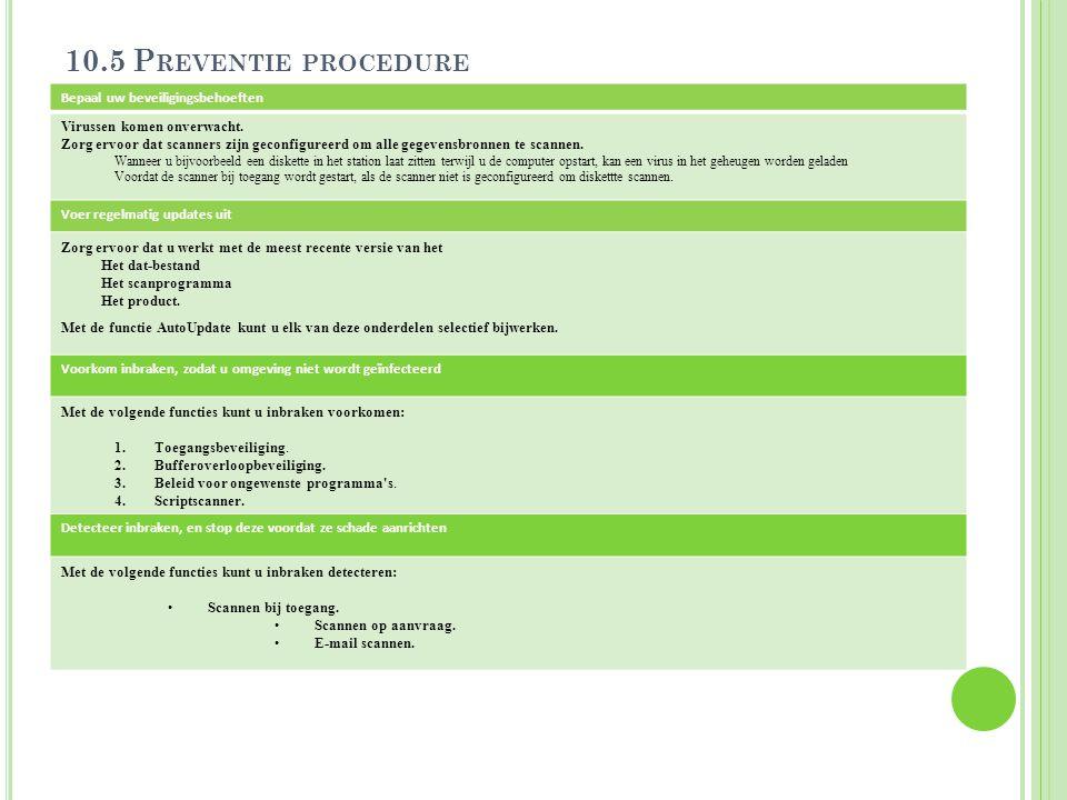 10.5 Preventie procedure Bepaal uw beveiligingsbehoeften