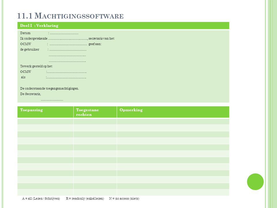 11.1 Machtigingssoftware Deel I : Verklaring Toepassing