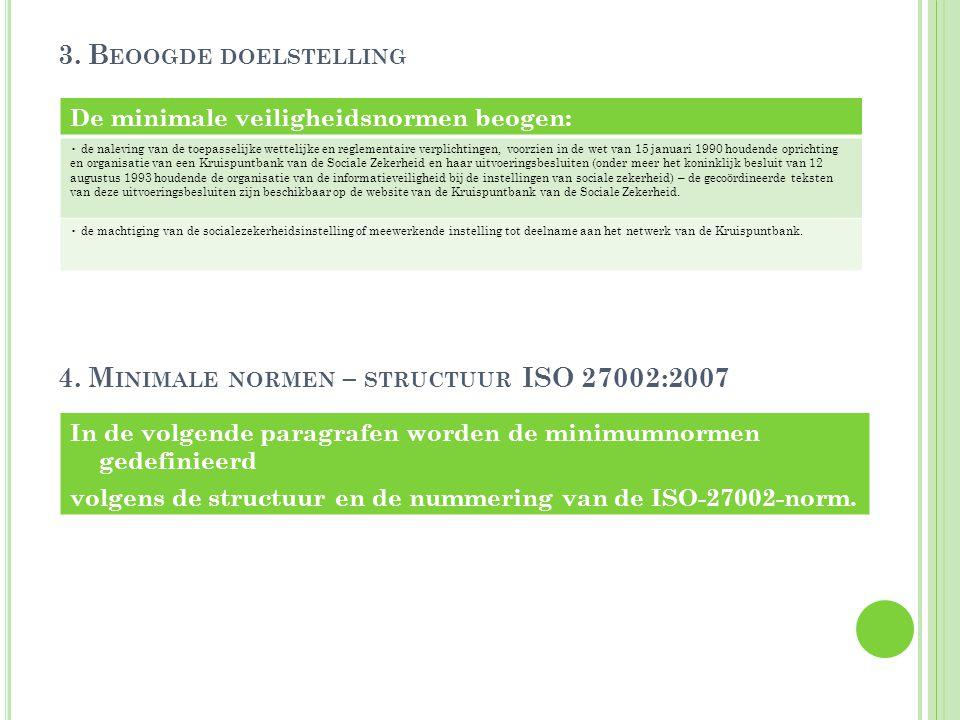 4. Minimale normen – structuur ISO 27002:2007