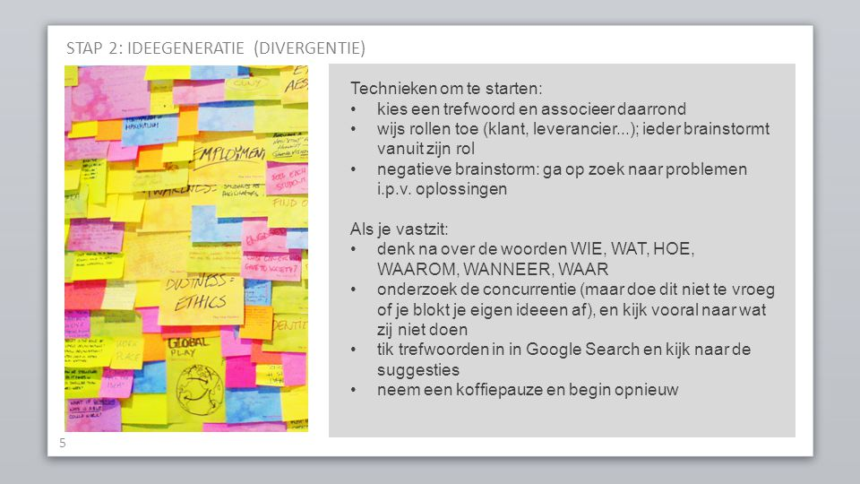 STAP 2: IDEEGENERATIE (DIVERGENTIE)