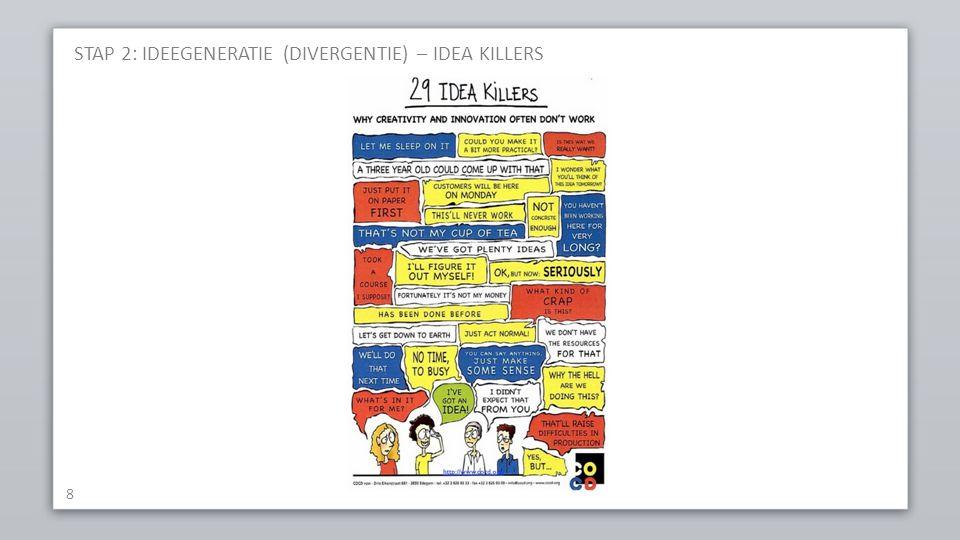STAP 2: IDEEGENERATIE (DIVERGENTIE) – IDEA KILLERS