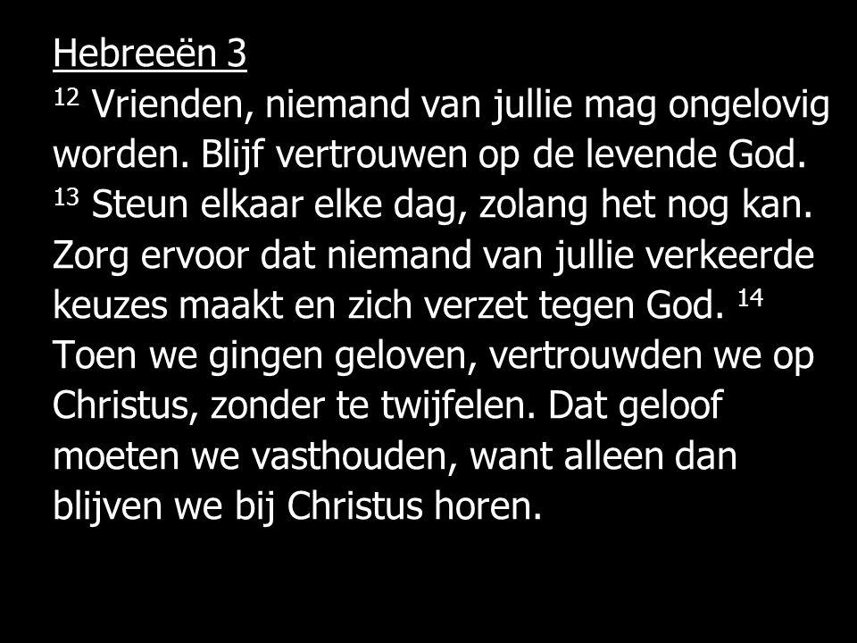Hebreeën 3 12 Vrienden, niemand van jullie mag ongelovig worden