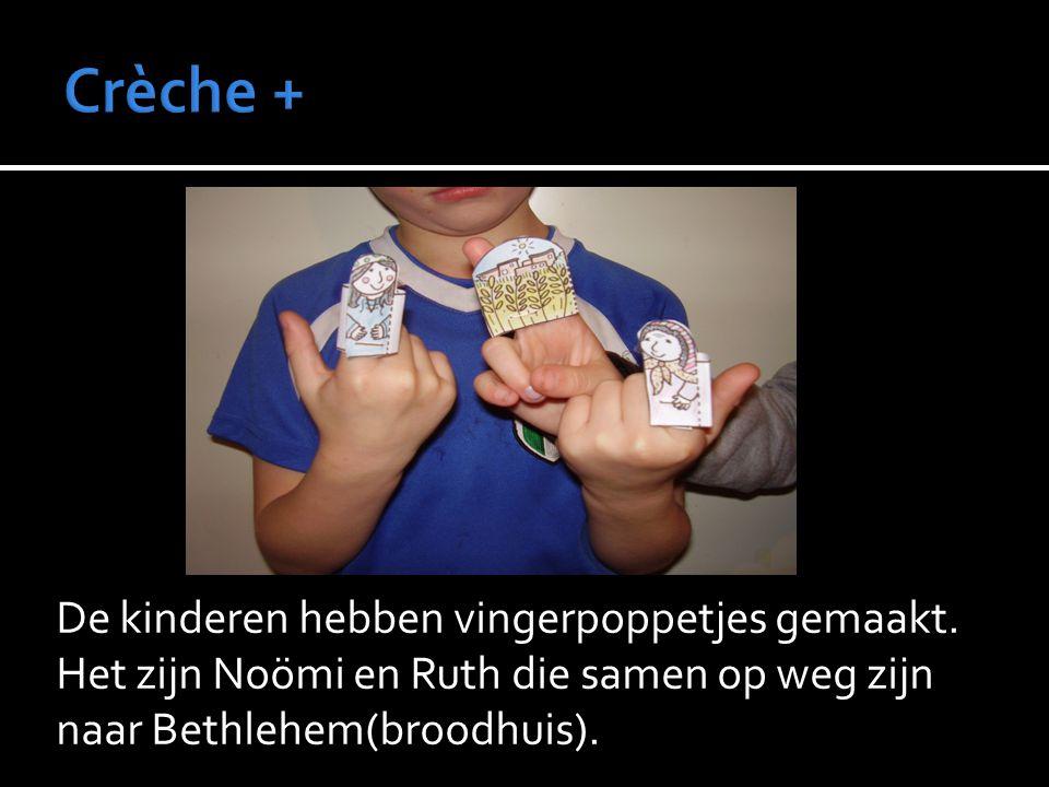 Crèche + De kinderen hebben vingerpoppetjes gemaakt.
