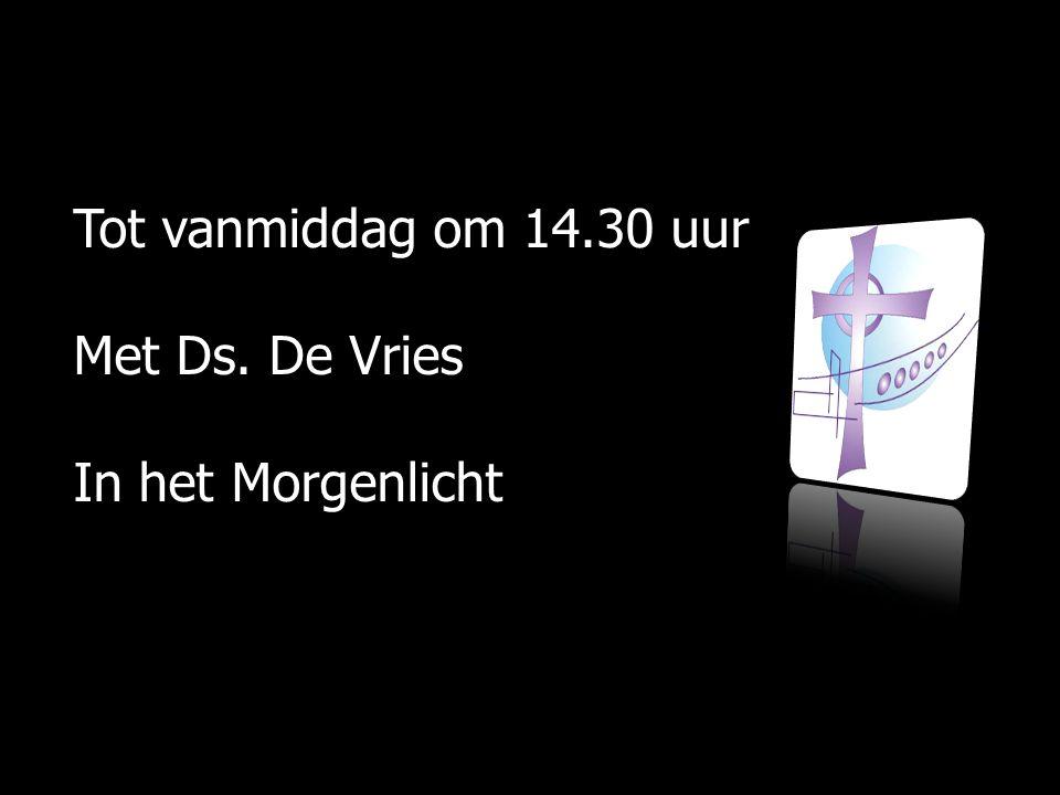 Tot vanmiddag om 14.30 uur Met Ds. De Vries In het Morgenlicht