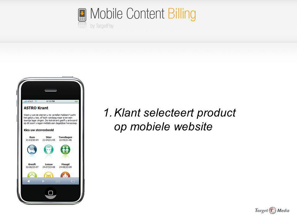 Klant selecteert product op mobiele website