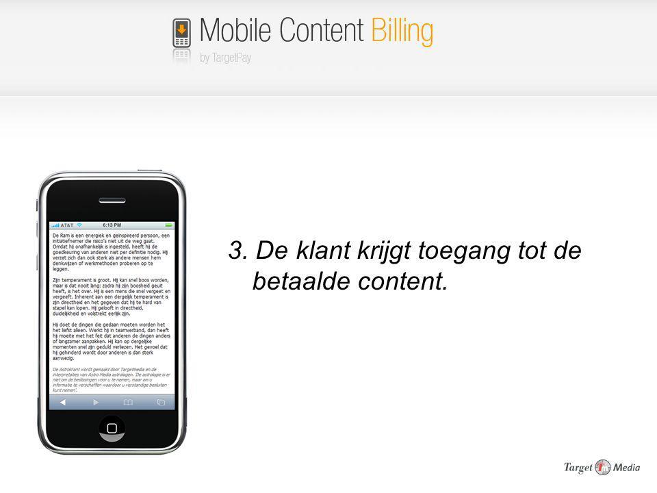 3. De klant krijgt toegang tot de betaalde content.