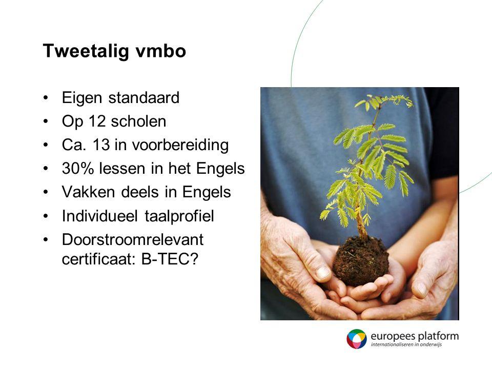 Tweetalig vmbo Eigen standaard Op 12 scholen Ca. 13 in voorbereiding