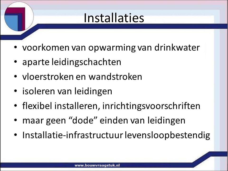 Installaties voorkomen van opwarming van drinkwater