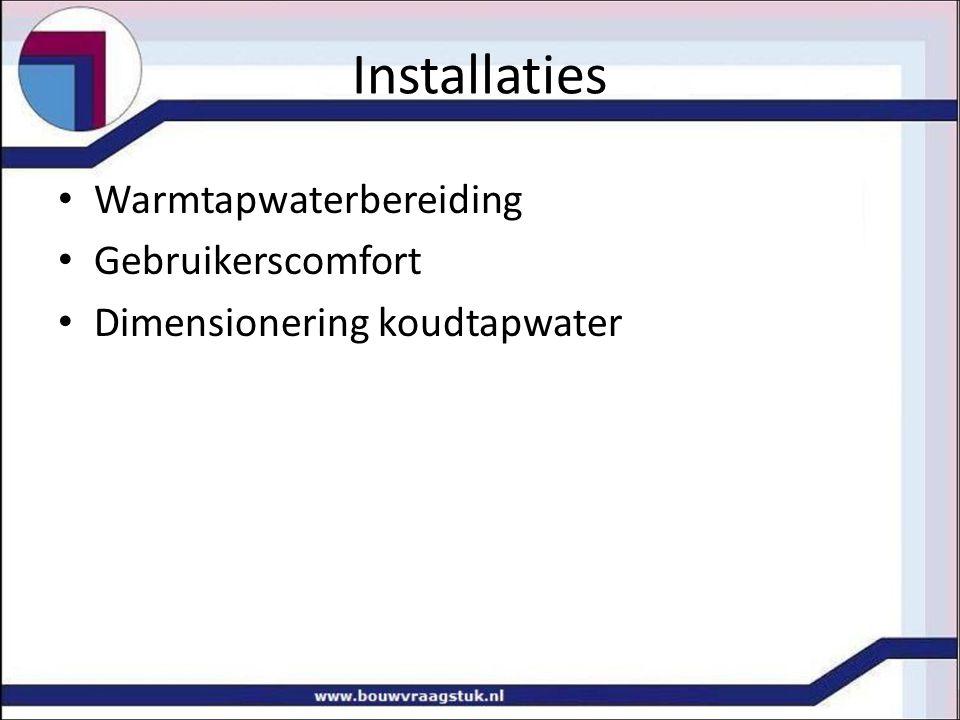 Installaties Warmtapwaterbereiding Gebruikerscomfort