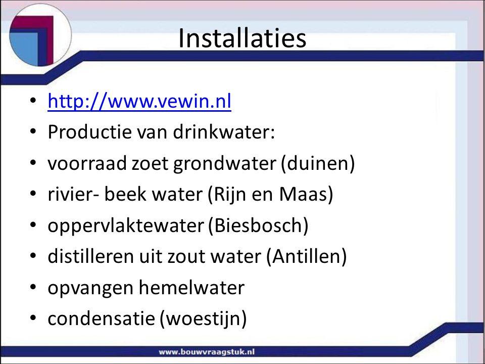 Installaties http://www.vewin.nl Productie van drinkwater: