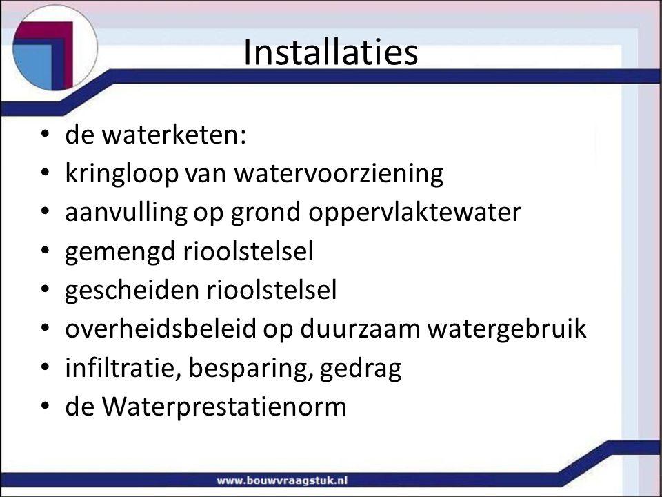 Installaties de waterketen: kringloop van watervoorziening
