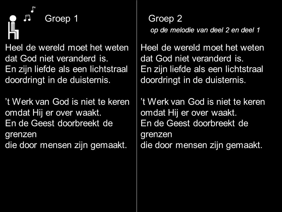 Groep 1 Groep 2 Heel de wereld moet het weten
