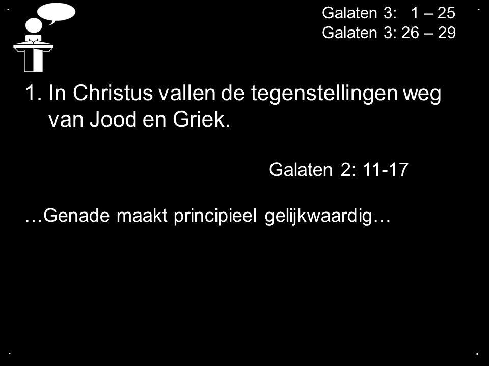 1. In Christus vallen de tegenstellingen weg van Jood en Griek.