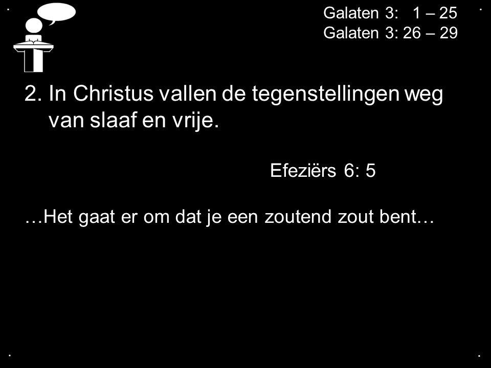 2. In Christus vallen de tegenstellingen weg van slaaf en vrije.