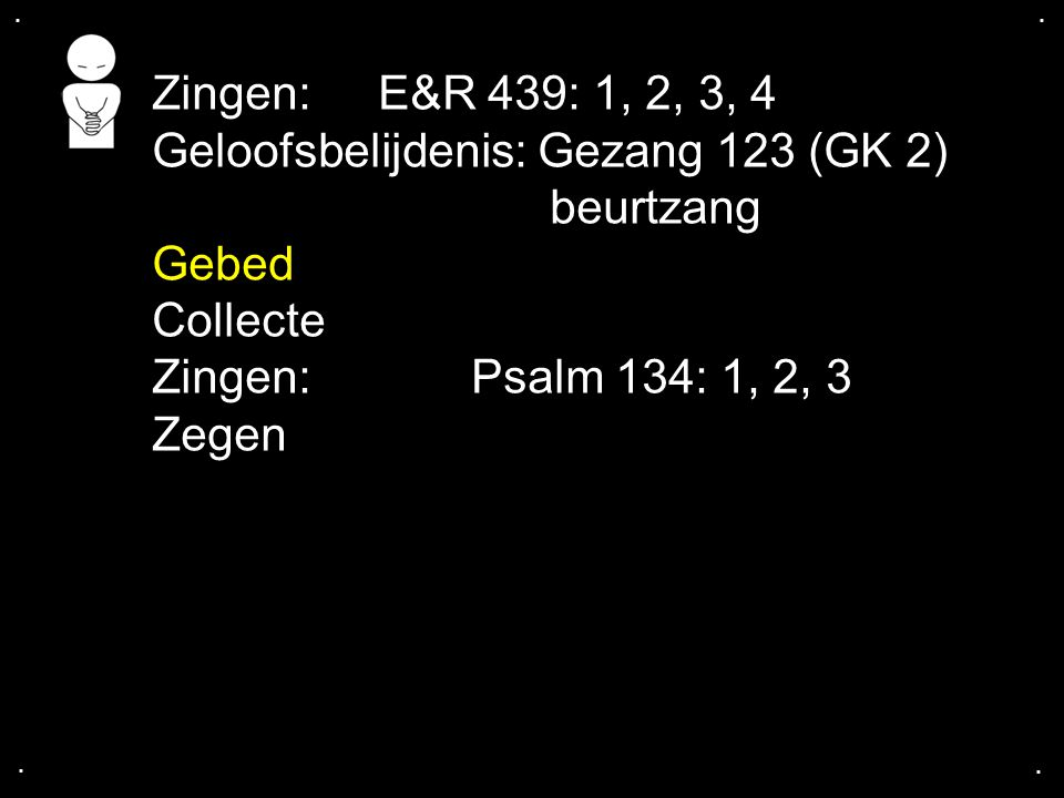 Geloofsbelijdenis: Gezang 123 (GK 2) beurtzang Gebed Collecte