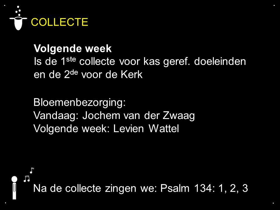 COLLECTE Volgende week Is de 1ste collecte voor kas geref. doeleinden