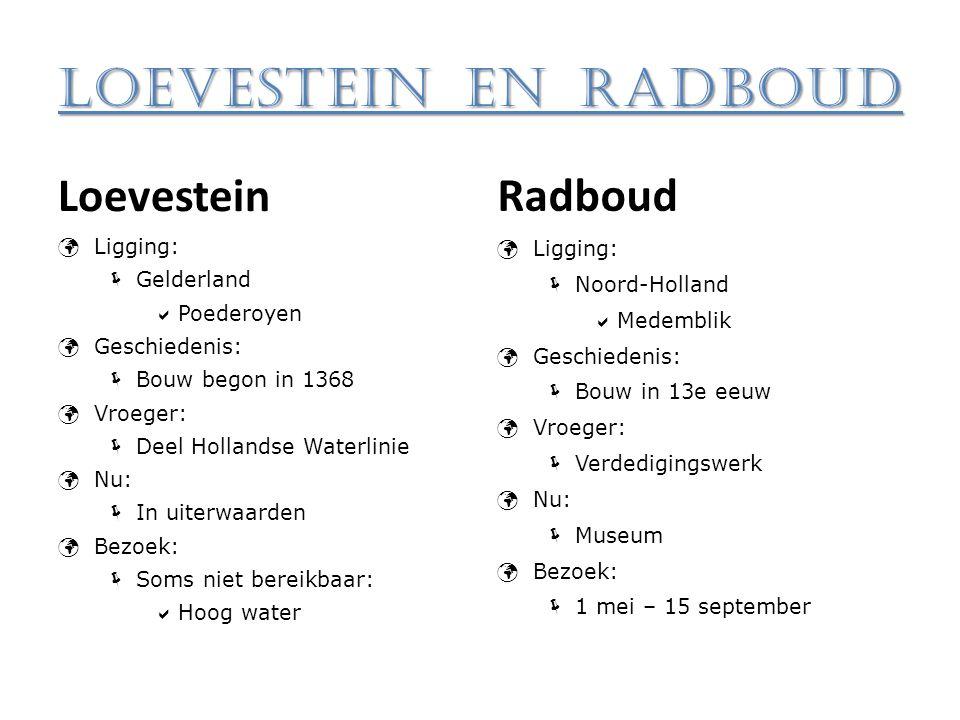 Loevestein en Radboud Loevestein Radboud Ligging: Gelderland