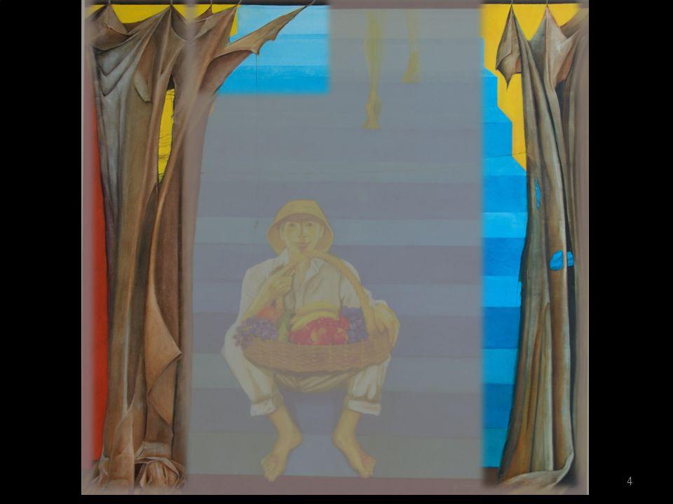Links en rechts op het schilderij zien we een bruin, verscheurd gordijn.