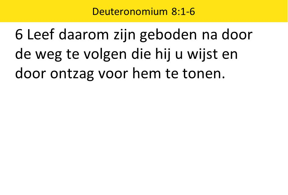 Deuteronomium 8:1-6 6 Leef daarom zijn geboden na door de weg te volgen die hij u wijst en door ontzag voor hem te tonen.