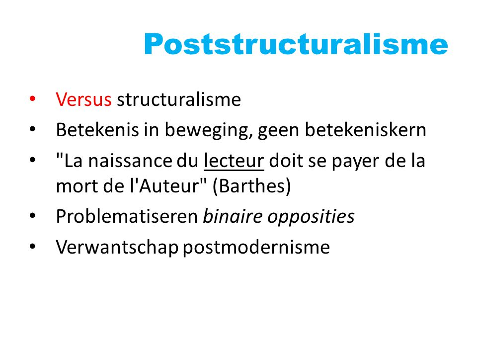 Poststructuralisme Versus structuralisme