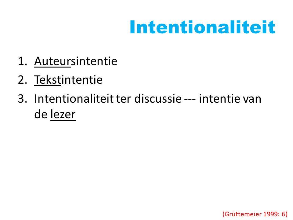 Intentionaliteit Auteursintentie Tekstintentie