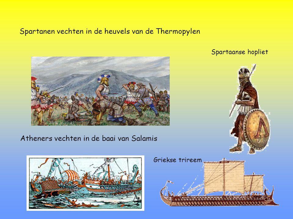 Spartanen vechten in de heuvels van de Thermopylen
