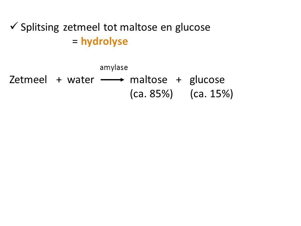 Splitsing zetmeel tot maltose en glucose = hydrolyse