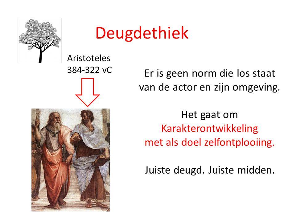 Deugdethiek Aristoteles. 384-322 vC. Er is geen norm die los staat van de actor en zijn omgeving.