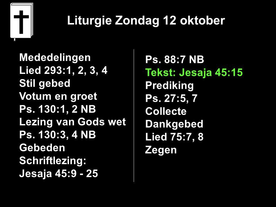 Liturgie Zondag 12 oktober