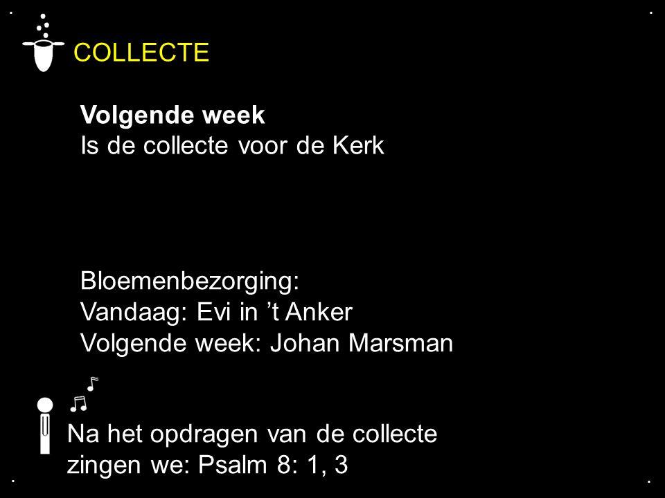 COLLECTE Volgende week Is de collecte voor de Kerk Bloemenbezorging: