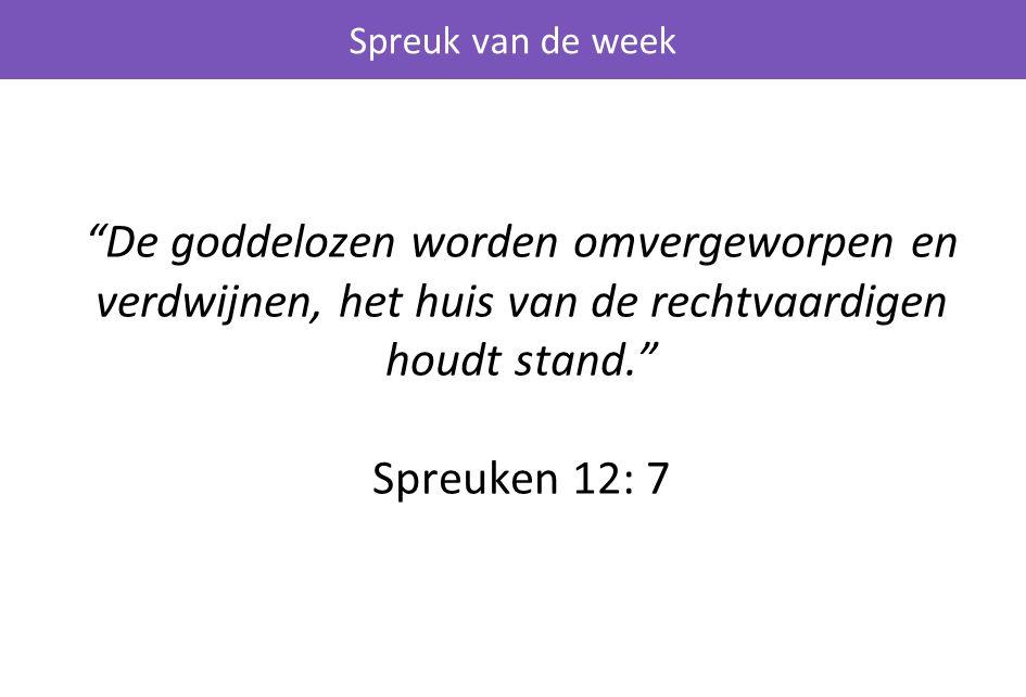 Spreuk van de week De goddelozen worden omvergeworpen en verdwijnen, het huis van de rechtvaardigen houdt stand. Spreuken 12: 7