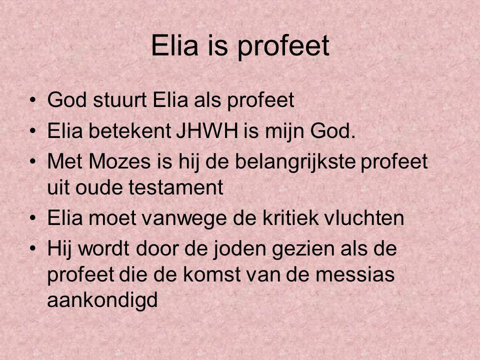 Elia is profeet God stuurt Elia als profeet