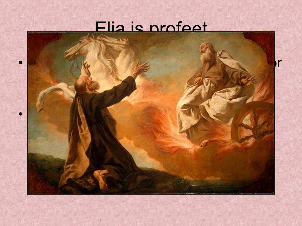 Elia is profeet Elia wordt aan het eind van zijn leven door God in een vurige wagen naar de hemel gehaald.