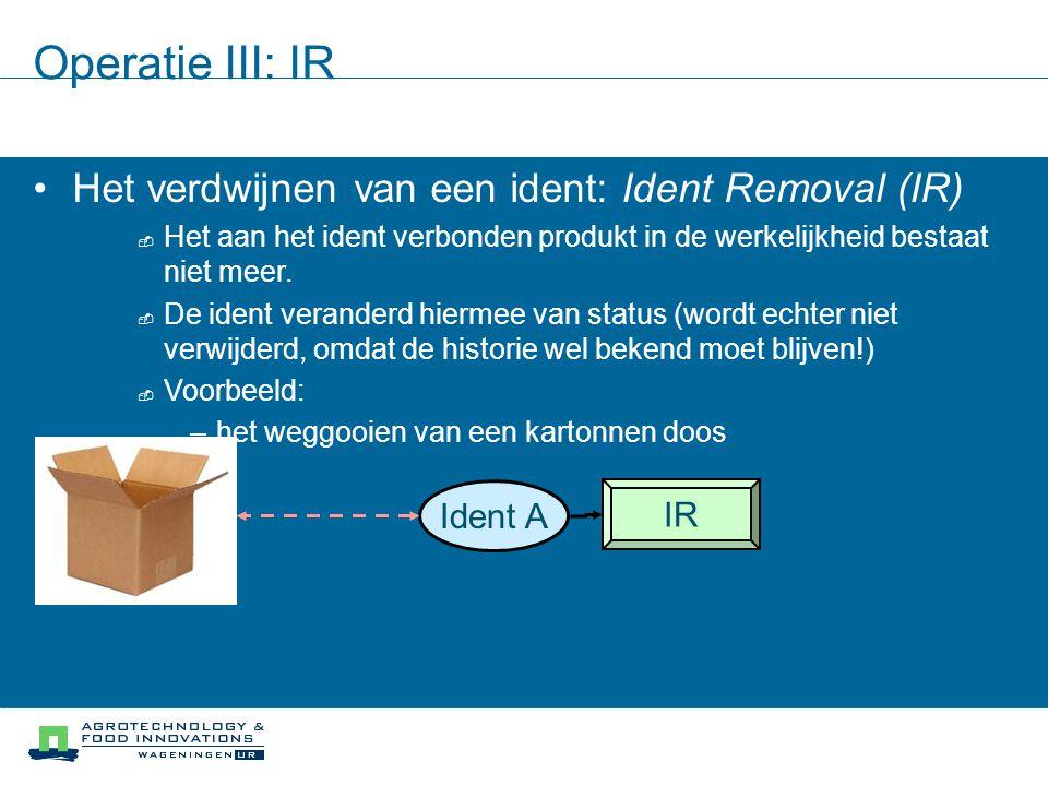 Operatie III: IR Het verdwijnen van een ident: Ident Removal (IR)