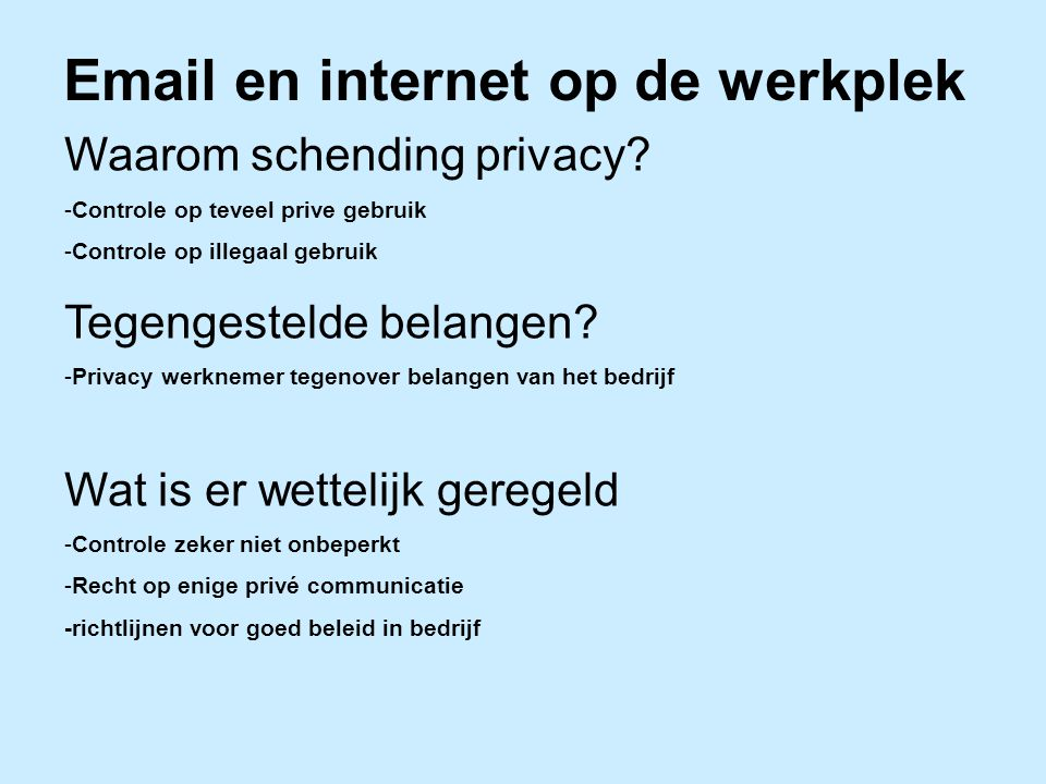Email en internet op de werkplek