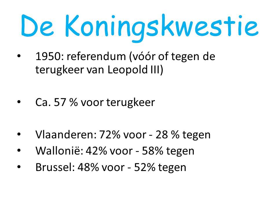 De Koningskwestie 1950: referendum (vóór of tegen de terugkeer van Leopold III) Ca. 57 % voor terugkeer.