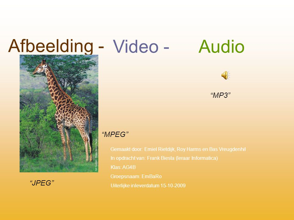 Afbeelding - Video - Audio MP3 MPEG JPEG