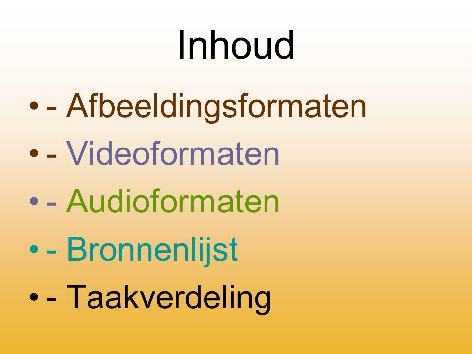 Inhoud - Afbeeldingsformaten - Videoformaten - Audioformaten