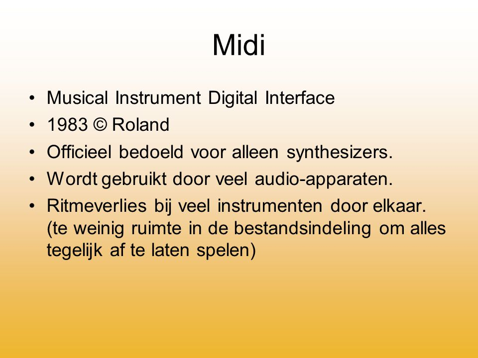 Midi Musical Instrument Digital Interface 1983 © Roland