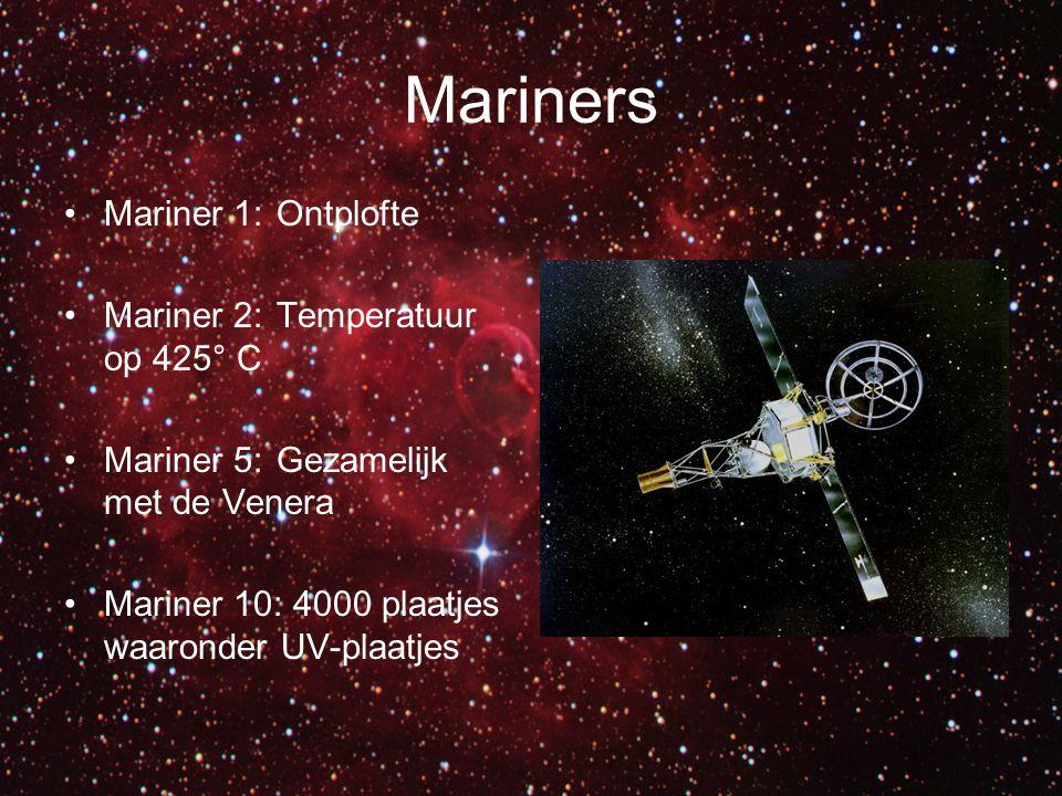 Mariners Mariner 1: Ontplofte Mariner 2: Temperatuur op 425° C