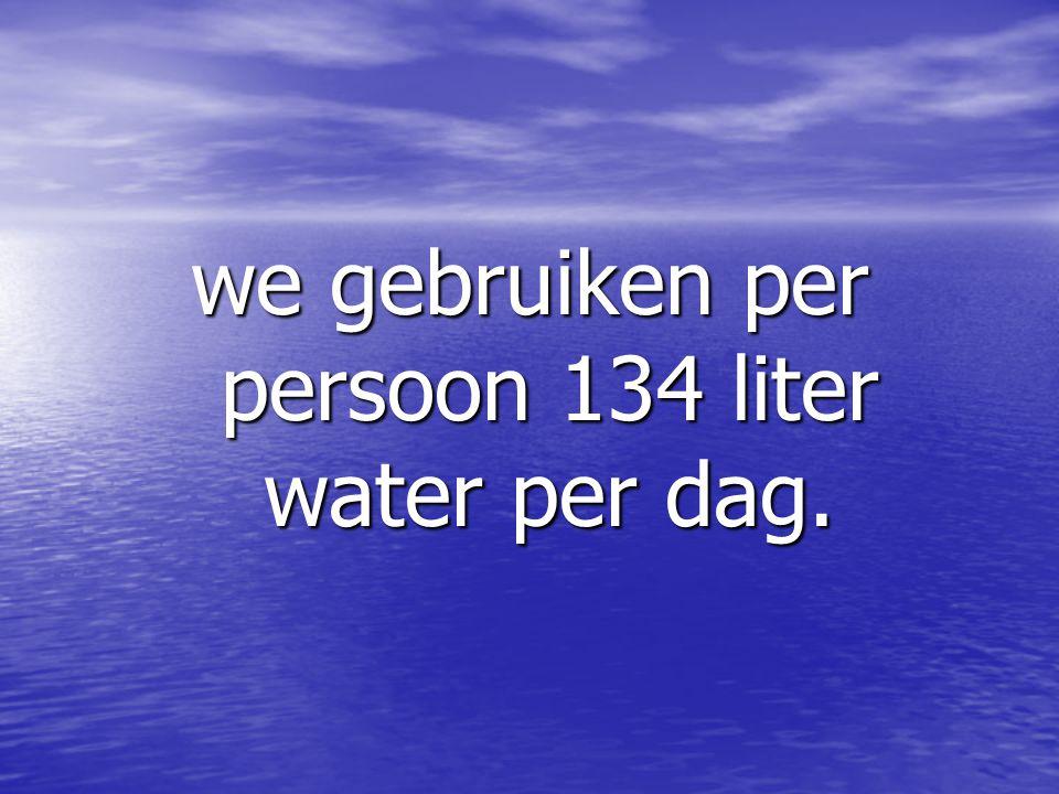 we gebruiken per persoon 134 liter water per dag.