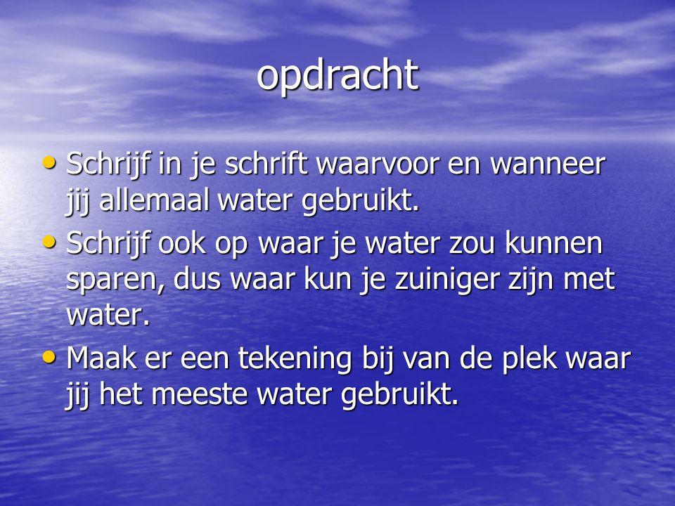 opdracht Schrijf in je schrift waarvoor en wanneer jij allemaal water gebruikt.