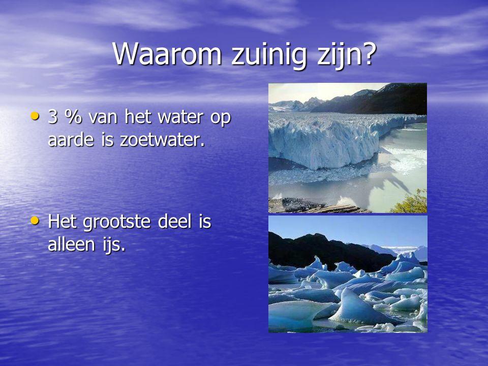 Waarom zuinig zijn 3 % van het water op aarde is zoetwater.