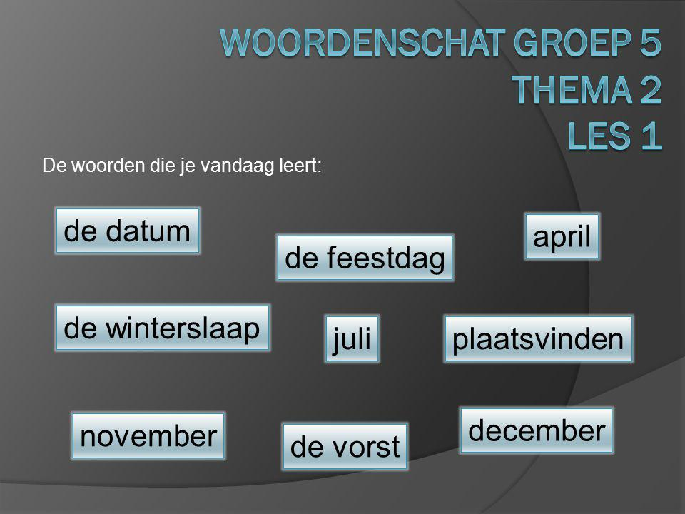 Woordenschat groep 5 Thema 2 Les 1
