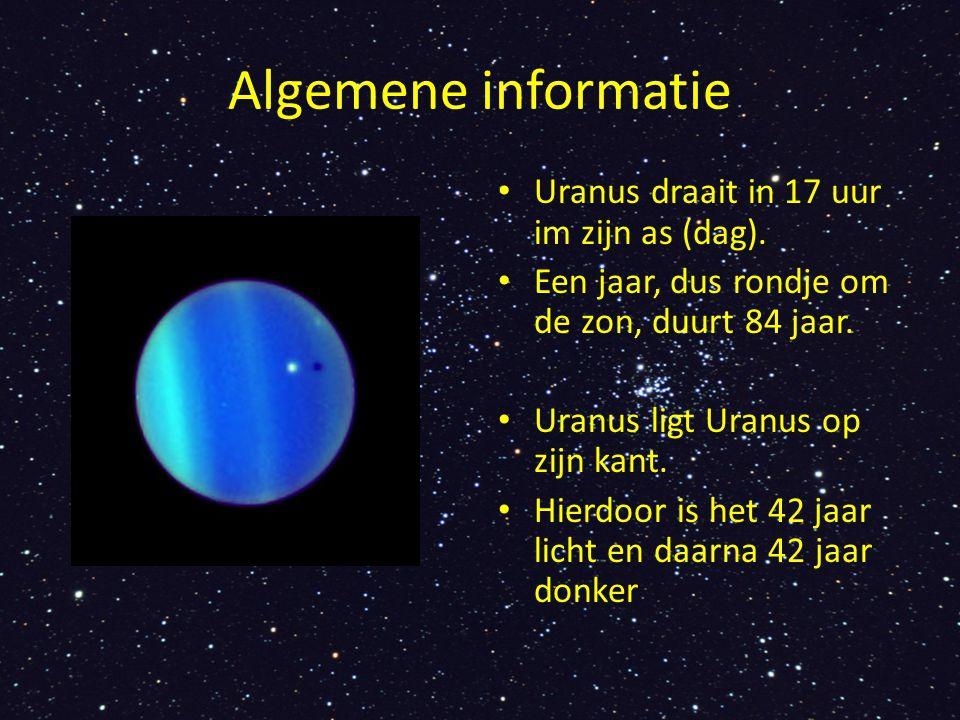 Algemene informatie Uranus draait in 17 uur im zijn as (dag).
