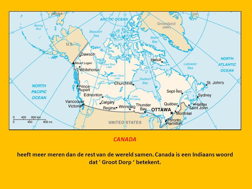 CANADA heeft meer meren dan de rest van de wereld samen.