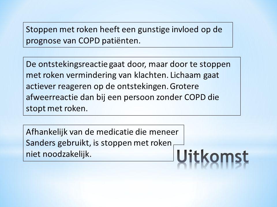 Stoppen met roken heeft een gunstige invloed op de prognose van COPD patiënten.